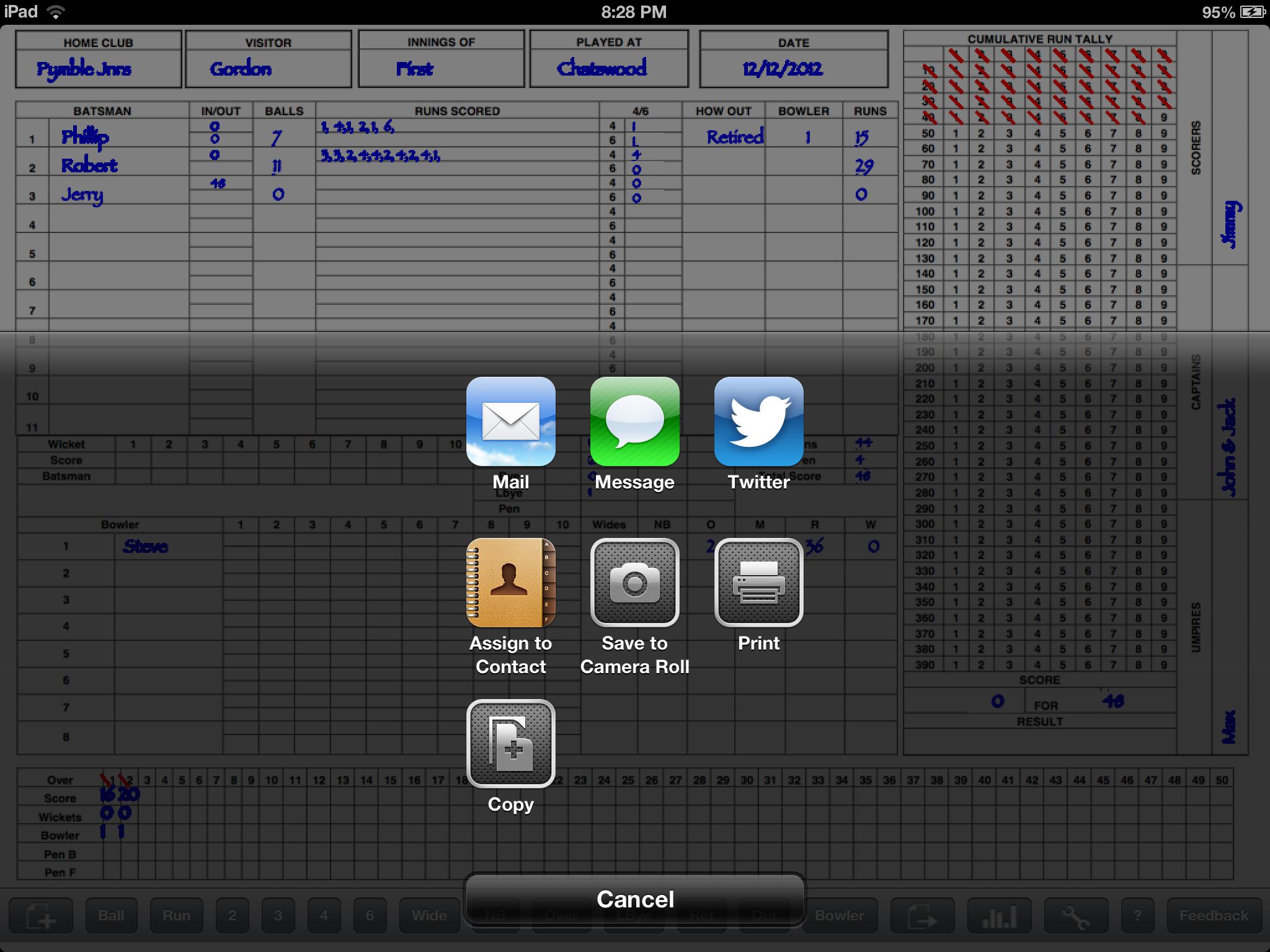 Cricket Score Sheet for iPad – Cricket Score Sheet